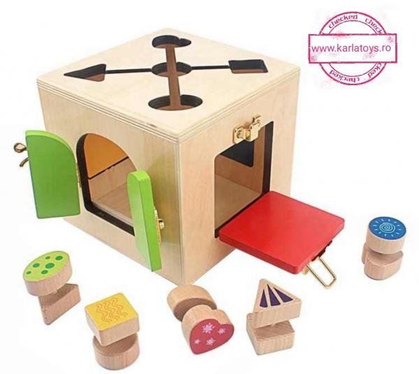 Joc Lemn Incuietori 2 in 1- Joc Cub Inchizatori din lemn cu labirint 0