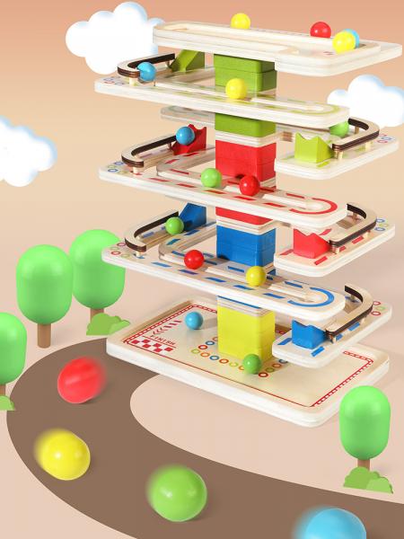 Joc Lemn interactiv Circuit cu Bile 7