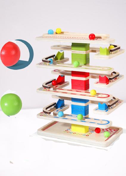 Joc Lemn interactiv Circuit cu Bile 4