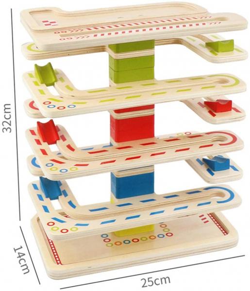 Joc Lemn interactiv Circuit cu Bile 11