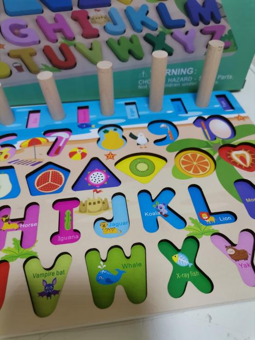 Joc din lemn montessori Litere si Cifre 6 in 1 7