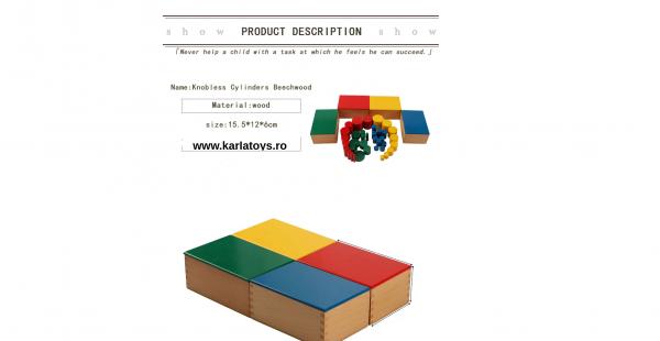 Joc Lemn Montessori Cilindrii Knobless - Joc de Lemn Educatie Montessori 3