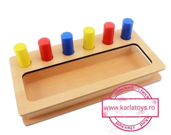 Joc Lemn Montessorii Sortator Peg Box - Joc Lemn Sortator Pioni 0