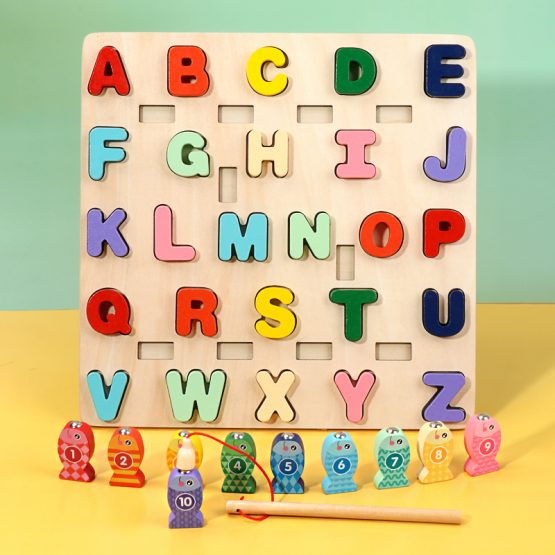 Joc Lemn Puzzle Litere si Joc de Pescuit  - Joc Puzzle Lemn Litere Mari 2 in 1 0