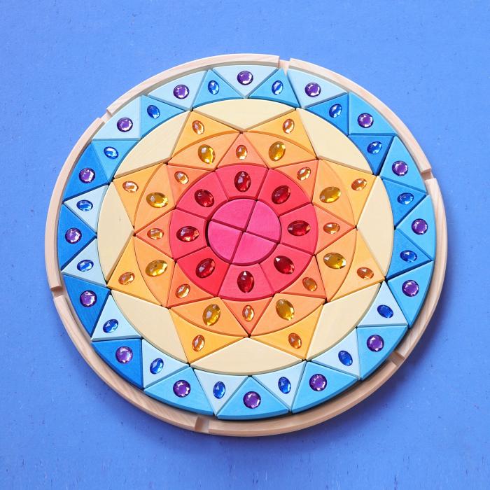 Joc lemn Puzzle montessori Mandala Soare cu pietre sclipitoare 4