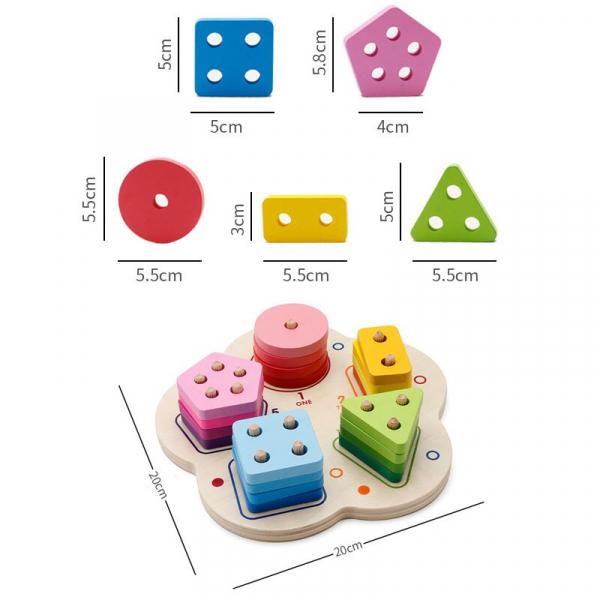 Joc lemn stivuire forme geometirce fracti si intreg 5 coloane 9