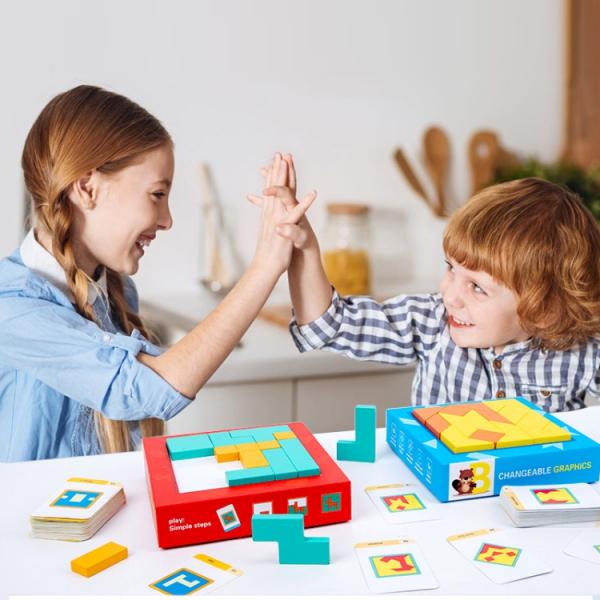 Joc din lemn gandire logica Tangram Puzzle 3D - Puzzle Poligon 5