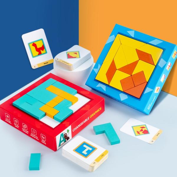Joc din lemn gandire logica Tangram Puzzle 3D - Puzzle Poligon 0
