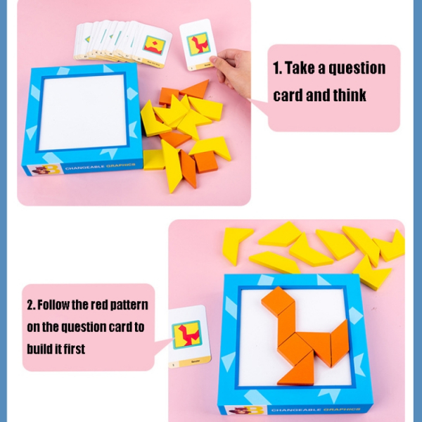 Joc din lemn gandire logica Tangram Puzzle 3D - Puzzle Poligon 4