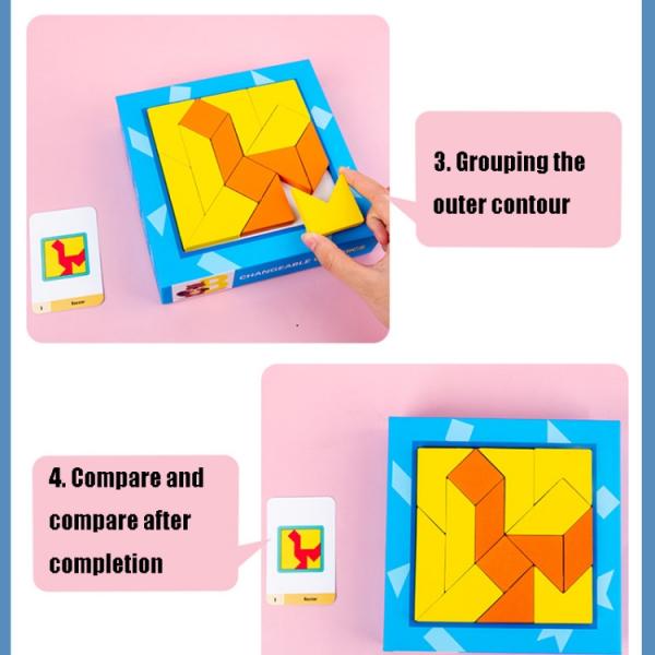 Joc din lemn gandire logica Tangram Puzzle 3D - Puzzle Poligon 6