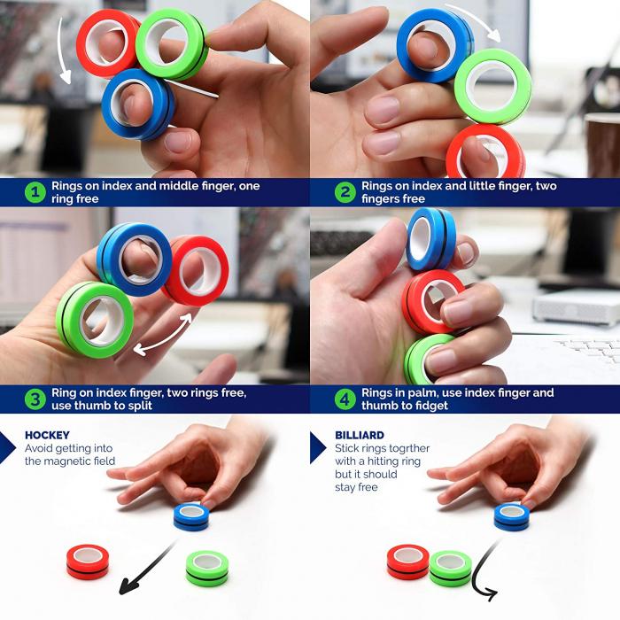 Set 3 buc Joc antistres Inel Magnetic - Magnetic Ring - 11