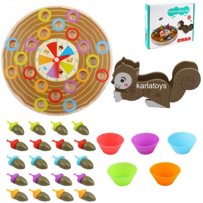 Joc din Lemn Montessori sortator culori Veverita cu Ghinde [0]