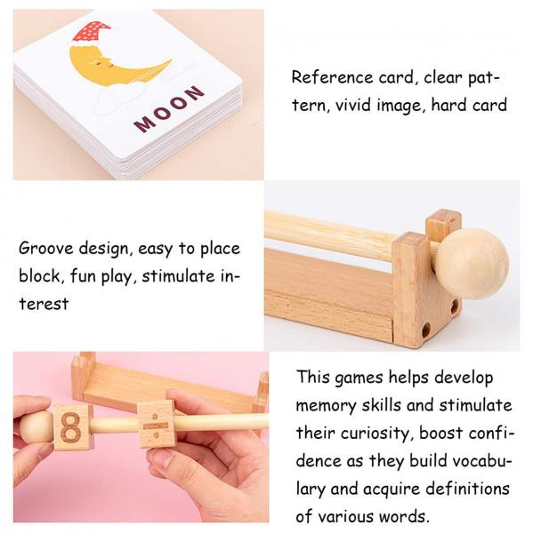Joc Montessori din lemn Alfabetul 3D si carduri cuvinte in limba engleza 3