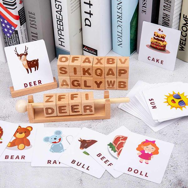 Joc Montessori din lemn Alfabetul 3D si carduri cuvinte in limba engleza 0