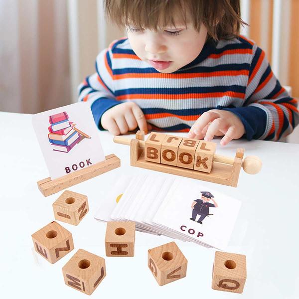 Joc Montessori din lemn Alfabetul 3D si carduri cuvinte in limba engleza 1