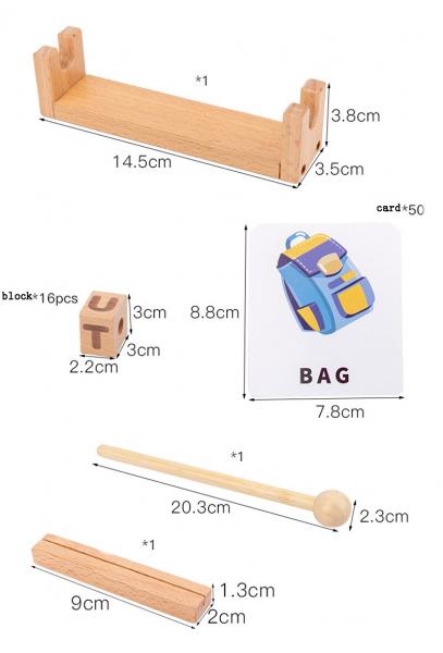 Joc Montessori din lemn Alfabetul 3D si carduri cuvinte in limba engleza 6