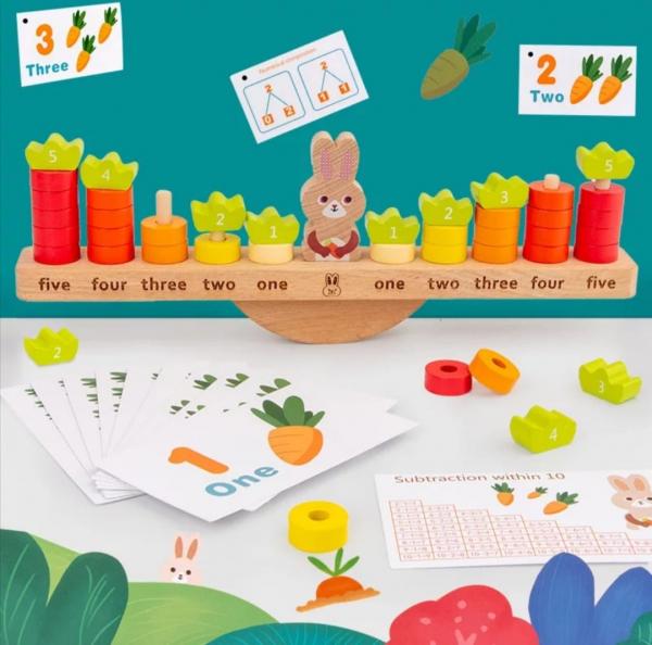Joc Montessori din Lemn Echilibru Morcovi -  Joc lemn invatare Aritmetica 0