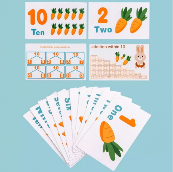 Joc Montessori din Lemn Echilibru Morcovi -  Joc lemn invatare Aritmetica 3