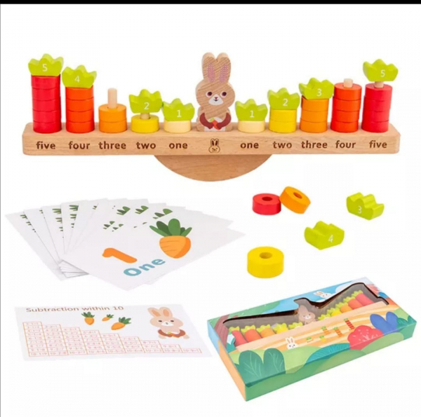 Joc Montessori din Lemn Echilibru Morcovi -  Joc lemn invatare Aritmetica 1
