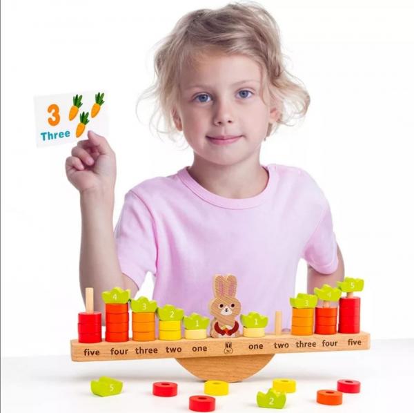 Joc Montessori din Lemn Echilibru Morcovi -  Joc lemn invatare Aritmetica 2
