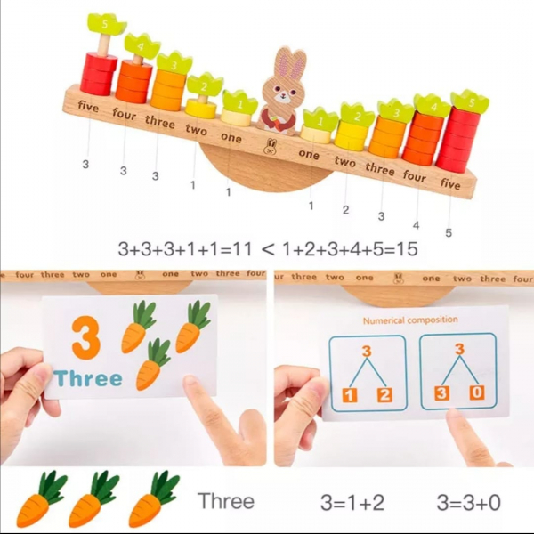 Joc Montessori din Lemn Echilibru Morcovi -  Joc lemn invatare Aritmetica 4