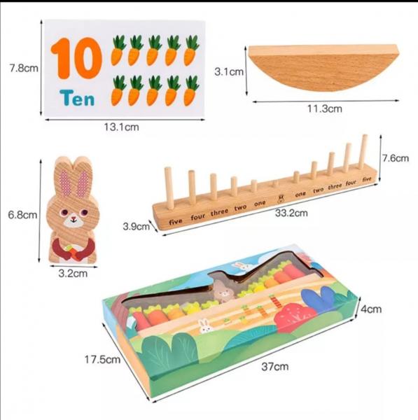 Joc Montessori din Lemn Echilibru Morcovi -  Joc lemn invatare Aritmetica 5