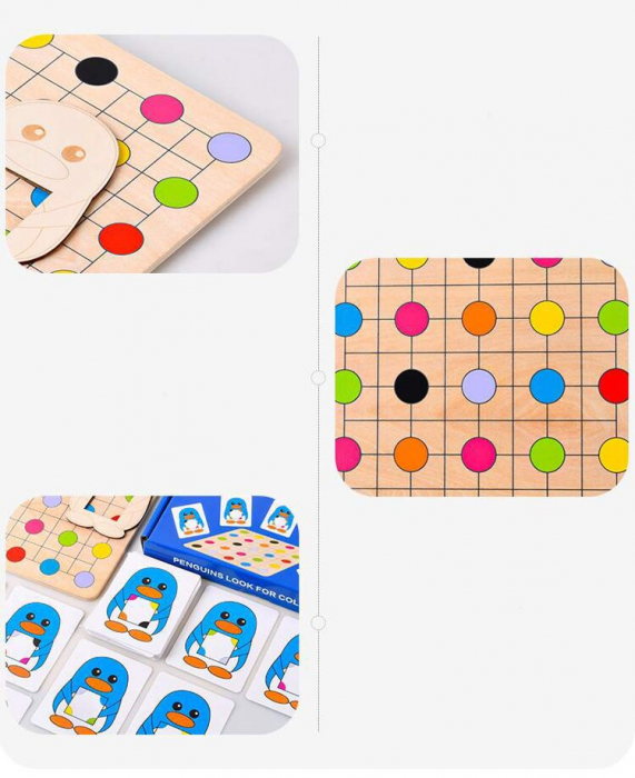 Joc Montessori Educativ din lemn Potrivire culori Pinguinul [3]