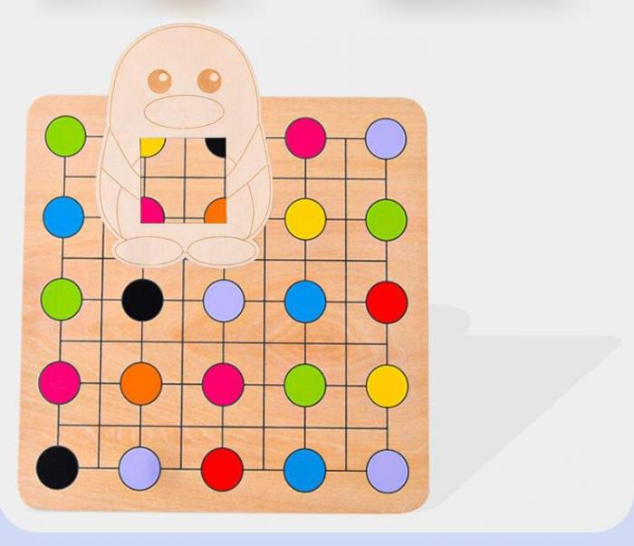 Joc Montessori Educativ din lemn Potrivire culori Pinguinul [5]
