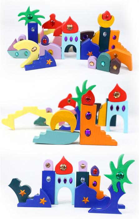 Joc Montessori set constructie Casa Orient 52 de piese 4