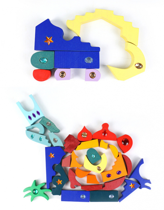 Joc Montessori set constructie Casa Orient 52 de piese 1