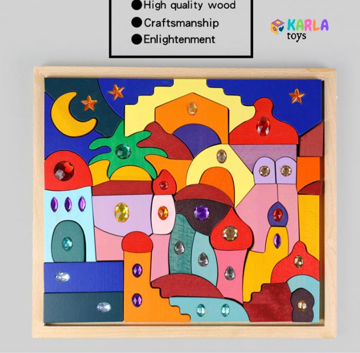 Joc Montessori set constructie Casa Orient 52 de piese 0
