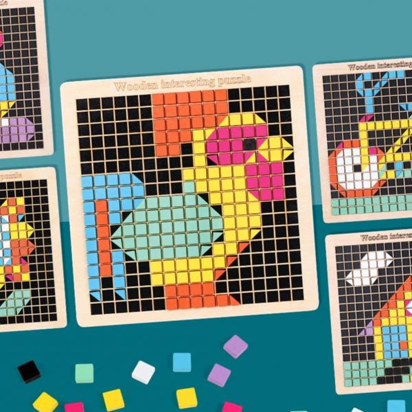 Joc din lemn mozaic din lemn Puzzle mozaic 370 de piese 11