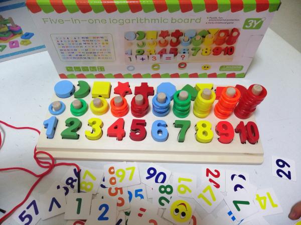 Joc  din Lemn numere 5 in 1 - Joc Lemn Operati matematice 3