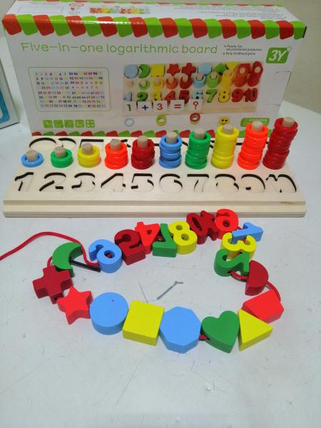 Joc  din Lemn numere 5 in 1 - Joc Lemn Operati matematice 2