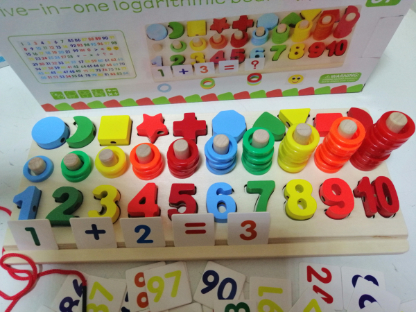 Joc  din Lemn numere 5 in 1 - Joc Lemn Operati matematice 5