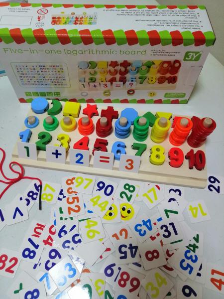 Joc  din Lemn numere 5 in 1 - Joc Lemn Operati matematice 6