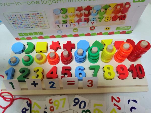 Joc  din Lemn numere 5 in 1 - Joc Lemn Operati matematice 7