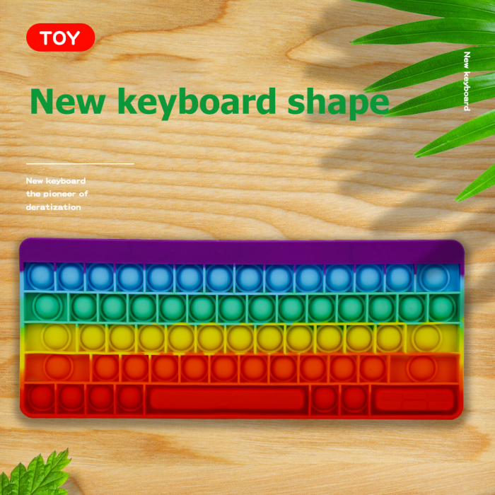 Joc antistres din silicon Pop it Tastatura Multicolora Keyboard [5]