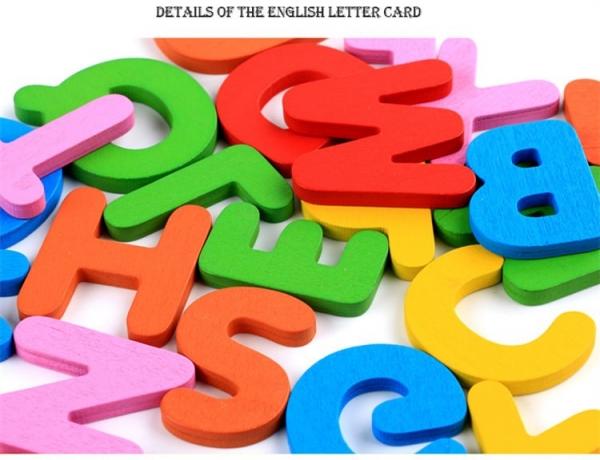Joc puzzle de asociere litere 3d  din lemn si cartonase cu fructe 3