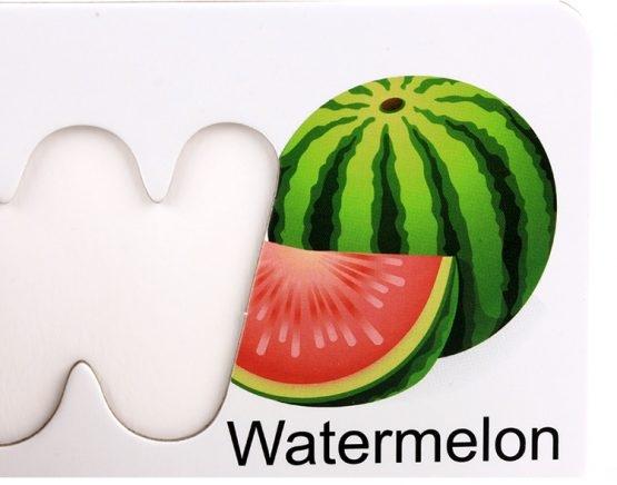 Joc puzzle de asociere litere 3d  din lemn si cartonase cu fructe 5
