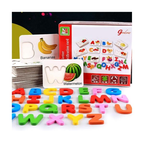 Joc puzzle de asociere litere 3d  din lemn si cartonase cu fructe 0