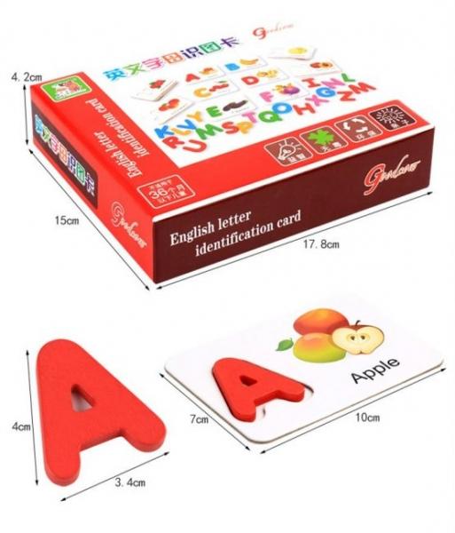 Joc puzzle de asociere litere 3d  din lemn si cartonase cu fructe 1