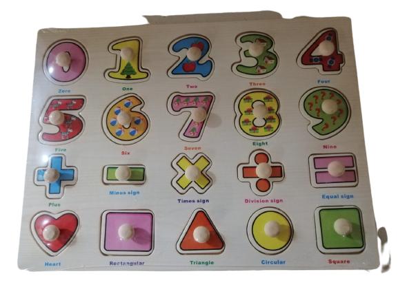 Joc Puzzle din lemn cifre incastru cu maner 0