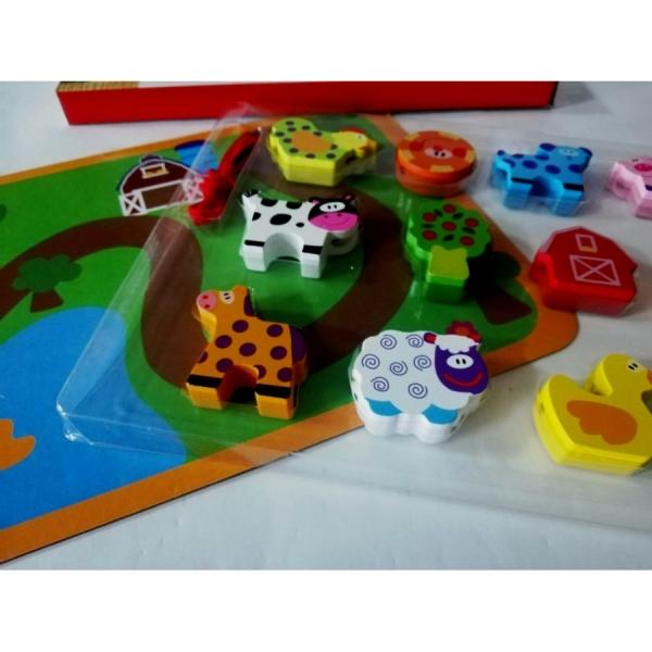 Joc puzzle Gros din lemn de insiruit Animale sau Masinute [2]