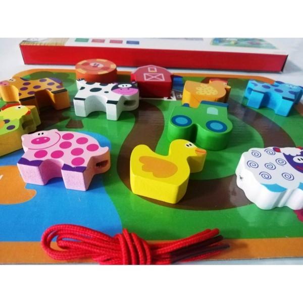 Joc puzzle Gros din lemn de insiruit Animale sau Masinute [1]