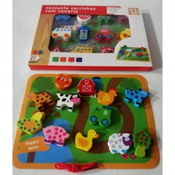Joc puzzle Gros din lemn de insiruit Animale sau Masinute [0]