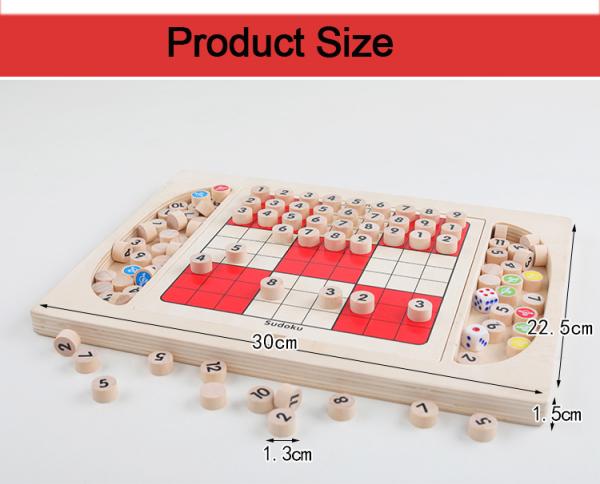 Joc din Lemn Sudoku 4 in 1 - Joc Sudoku Multifuctional din lemn 8