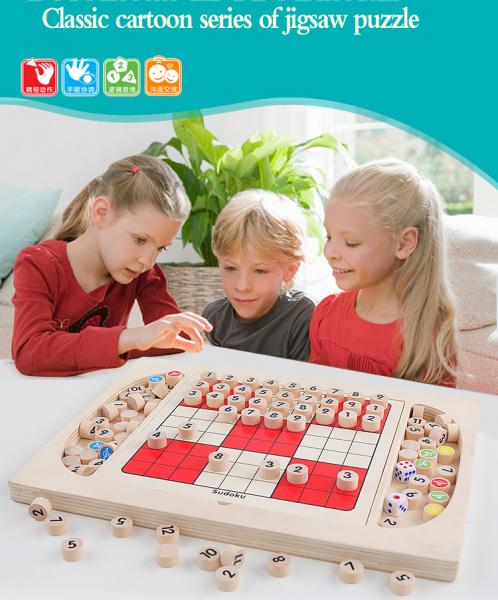 Joc din Lemn Sudoku 4 in 1 - Joc Sudoku Multifuctional din lemn 9