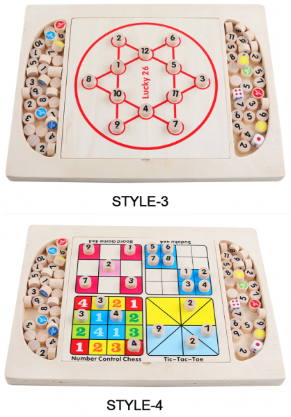 Joc din Lemn Sudoku 4 in 1 - Joc Sudoku Multifuctional din lemn 4