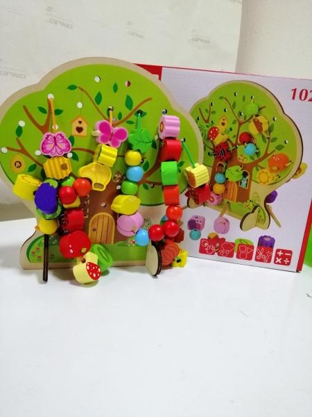 Jucarie de lemn snuruit Copacul - Anotimurile cu margele si fructe 2